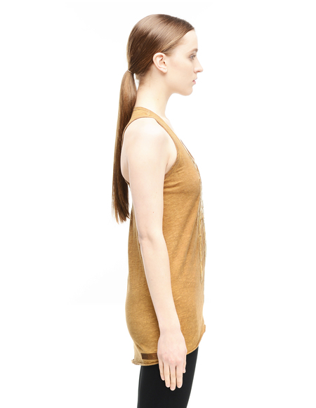 Isaac Sellam Cotton and Crocodile Leather Tank Top