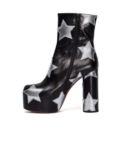 Vetements Leather Star Platform Ankle Boots - Black