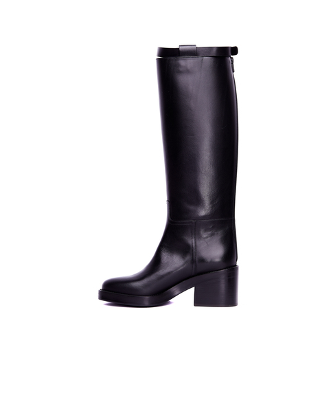 Ann Demeulemeester Leather Boots with Strap - Black