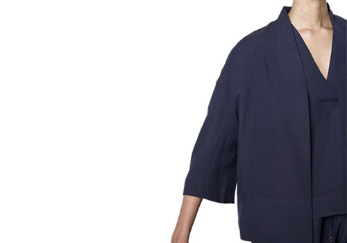 7115 BY SZEKI STRUCTURED LINEN JACKET - NAVY