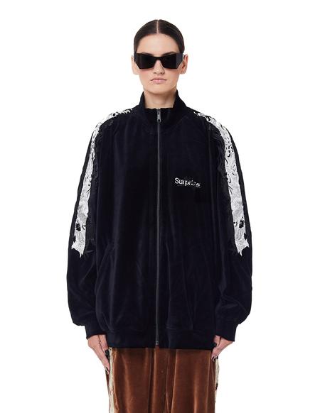 Doublet Embroidered Velour Track Jacket - Black