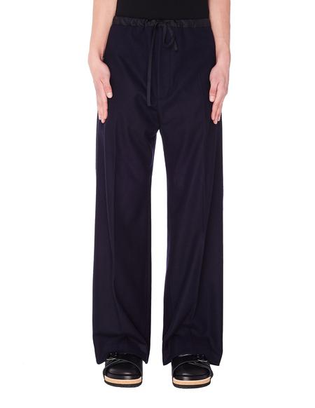 Jil Sander Wool Wide Leg Trousers - Navy Blue