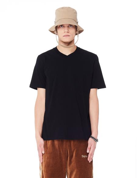 Jil Sander V-Neck Cotton T-Shirt - Black