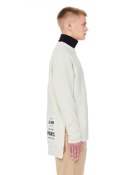 Jil Sander Wool Sweater with Flyer Patch - off-white
