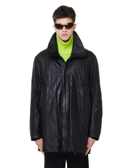 Isaac Sellam Leather Detourne Marbre Parka Coat - Black