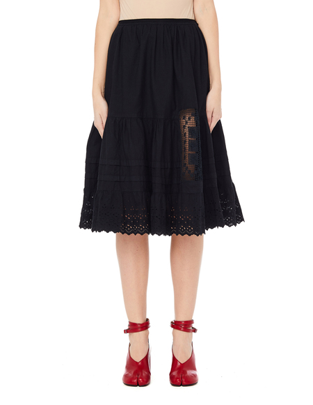 Blackyoto Cotton/Lace Yuki Skirt - Black