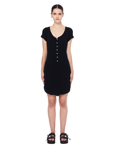 L.G.B. Cotton Henley Dress - Black