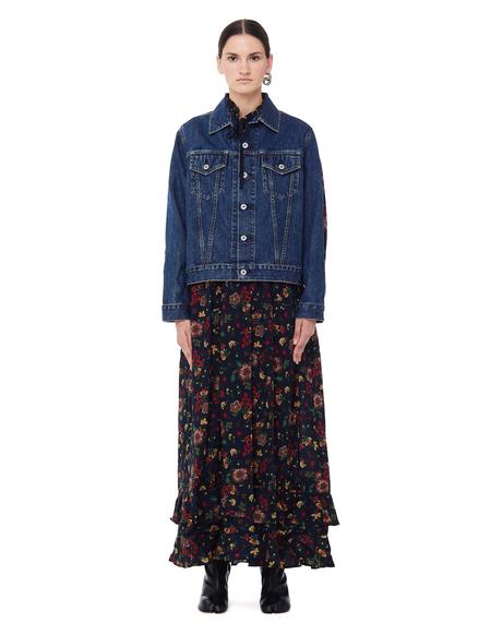 Junya Watanabe Flower Dress With Denim Jacket - Multicolor