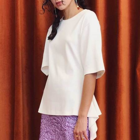 Aalto T-Shirt with Asymmetrical Sleeves - white