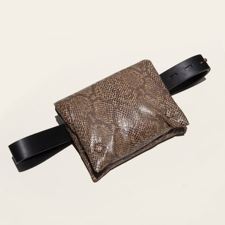 Nanushka Tao Belt Bag - Brown Snake