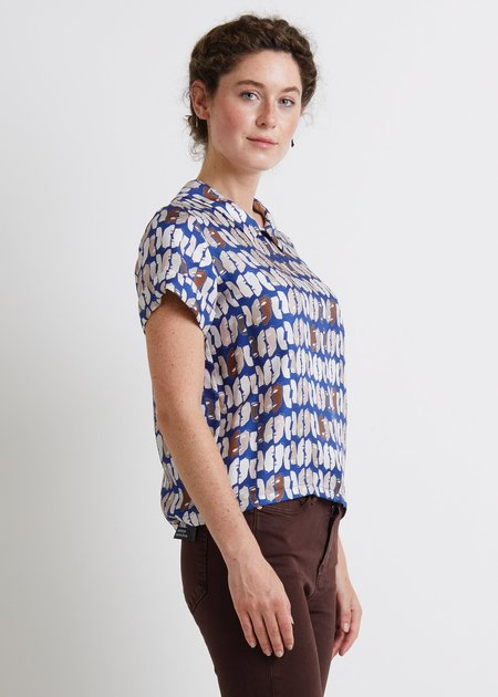 Chistine Alcalay Collard Shirt Sleeve Blouse - Blue Print