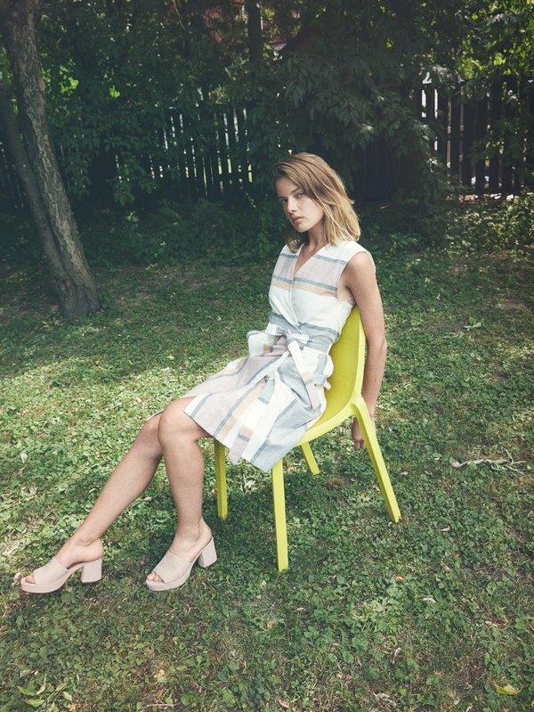 Eve Gravel Fleur D'Oranger Dress - stripes/white