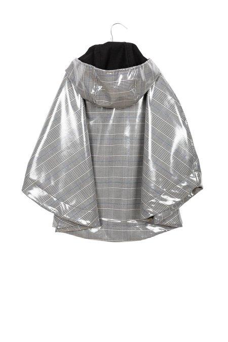 kids motoreta raincape - black/blue/white checkered