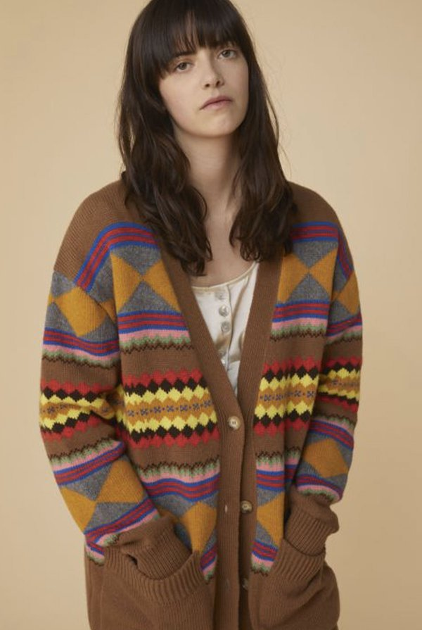 Alexa Chung Jacquard Cardigan - BROWN