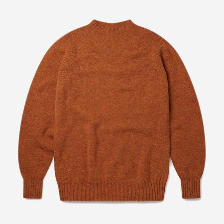 Albam Seamless Raglan Shetland Wool Sweater - Rust
