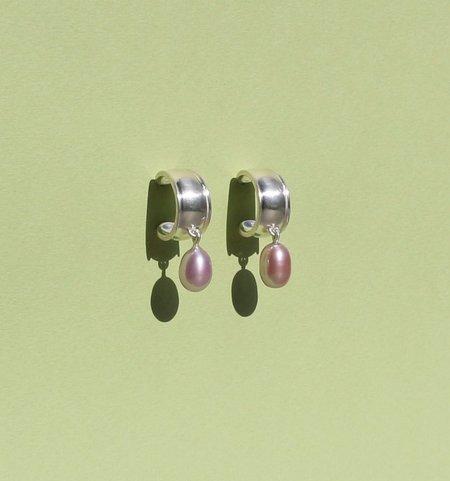 Noon Jewellery mini hoops w/ purple pearls - Sterling Silver