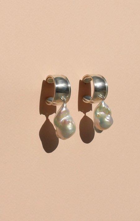 Noon Jewellery mega hoops w/ baroque pearls - Sterling Silver