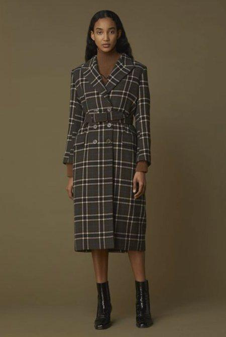 Alexa Chung Big Check Coat - Khaki