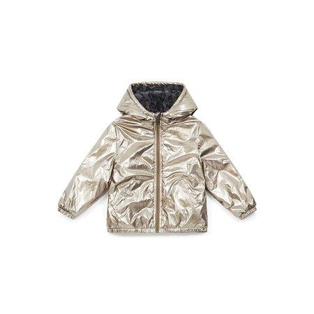 kids bonton paris reversible faux fur metallic coat - gold