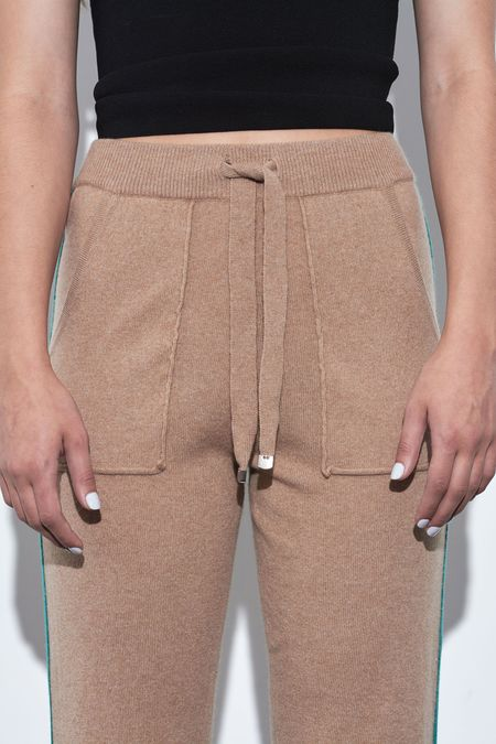 SOH Contrasting Stripe Jogger Pants - Camel