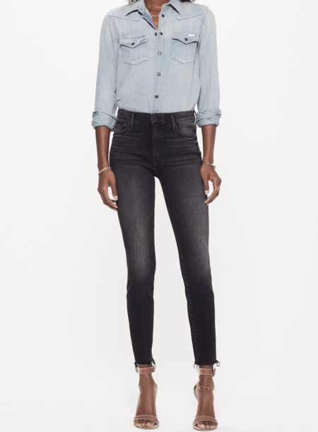 Mother Denim High Waisted Looker Ankle Fray - Night Hawk