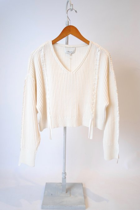 3.1 Phillip Lim Ribbon Weave Cropped Sweater - IVORY