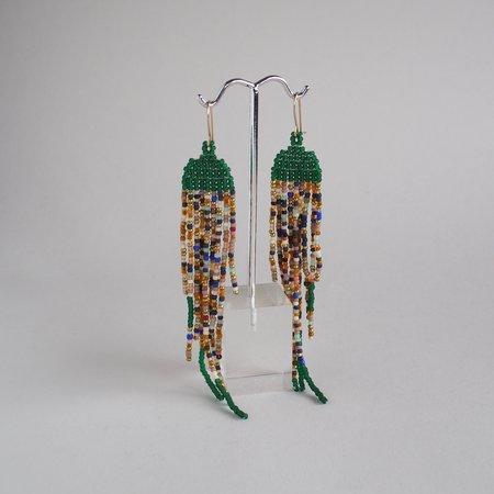 Lu in the Frey Speckled Fringe Earrings - Emerald Green
