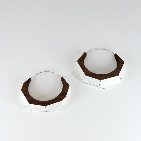 Danny Hart Design Medium Faceted Wood Hoop Earrings
