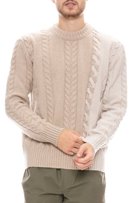 Maison Kitsune Cable Knit Pullover Sweater - ECRU/BEIGE
