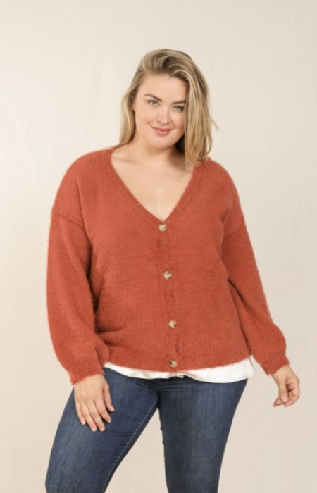 Skies Are Blue Button Front Knit Cardigan - Rust