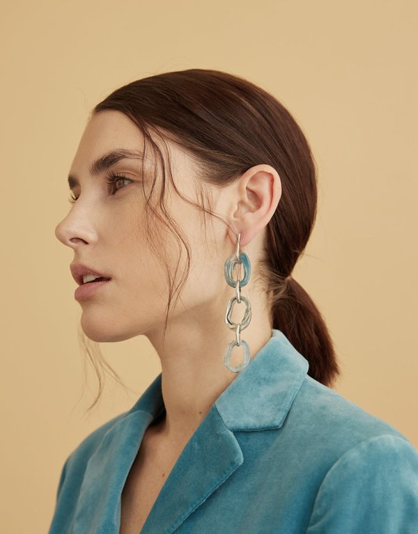 Cled Connected Loop Earrings - Blue Shade