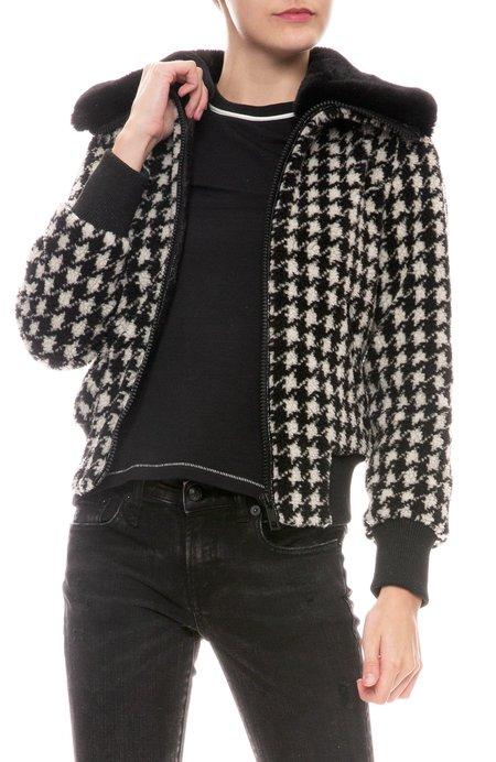 Jocelyn Faux Teddy Bomber Jacket - BLACK/WHITE