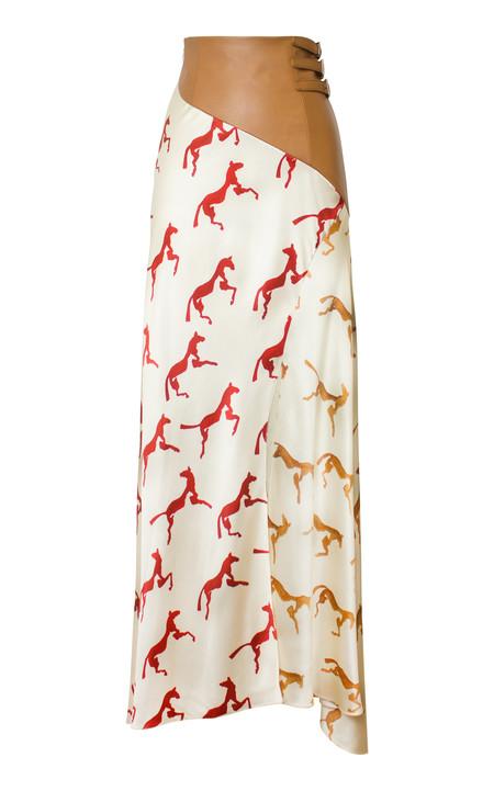 Alejandra Alonso Rojas Hand Painted Horse Print Skirt - Ecru/Red