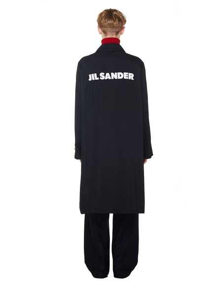 Jil Sander Logo Printed Coat - Black