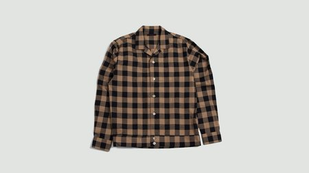The Gigi Bell Overshirt - beige/black