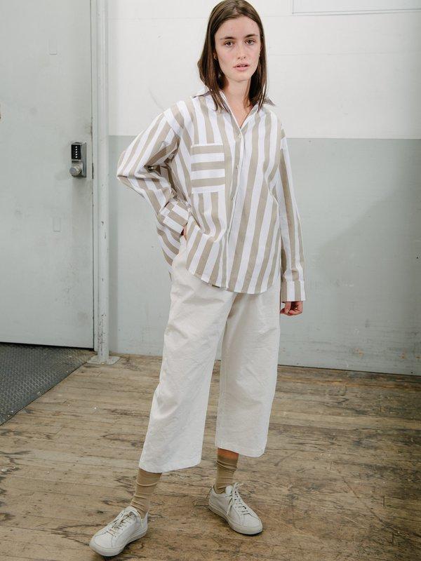 Priory Cabb Shirt Striped Poplin - White/Natural