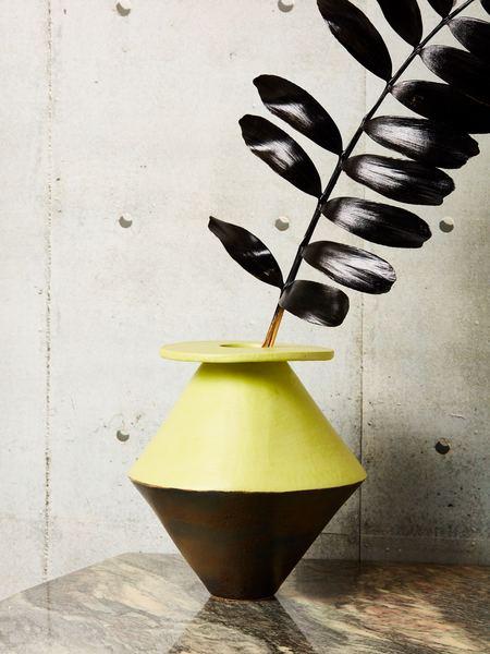 Bzippy & Co. Vase - Black/chartreuse