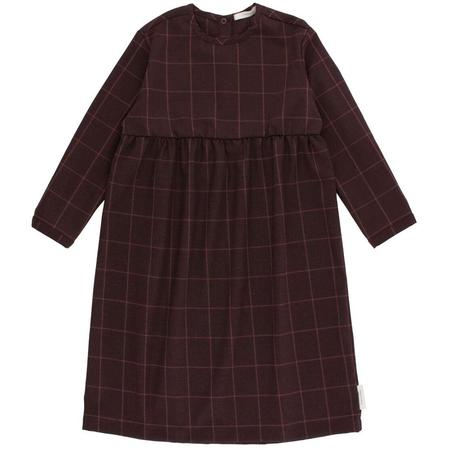 kids tinycottons grid flannel long sleeve dress - plum