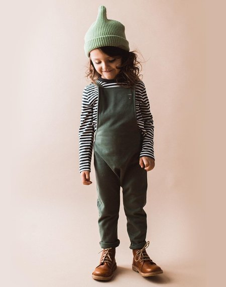 Kids Gray Label Organic Salopette & Striped Tee Set - Moss