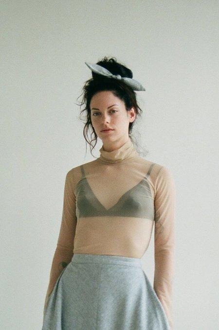 Eliza Faulkner Mesh Turtleneck Top - Beige
