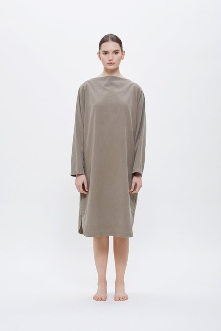 Black Crane Folded Neck Dress - Gray