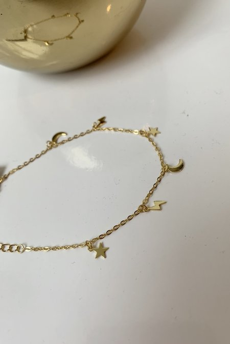 Katie Diamond Mini Charm Bracelet - Gold