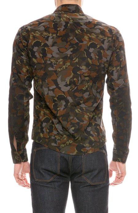 Billy Reid Taylor Printed Shirt - NAVY/OLIVE