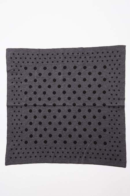 Meticulous Knitwear Double Jacquard Bandana - Charcoal/Black Dots