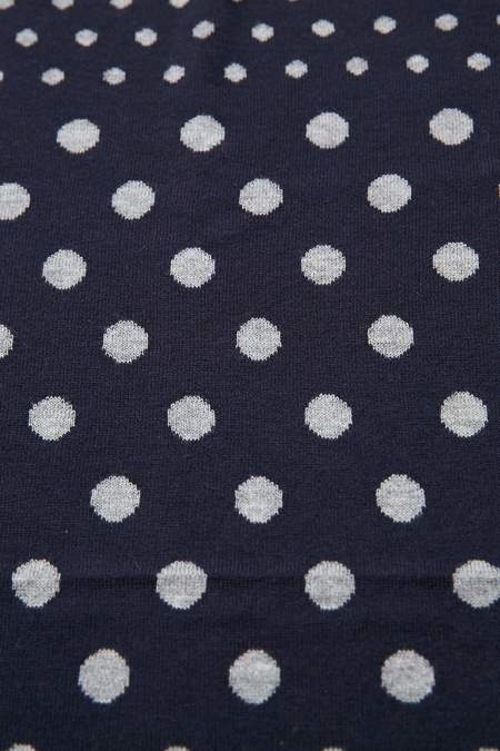 Meticulous Knitwear Double Jacquard Bandana - Navy/Grey Dots