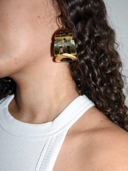 Merryn Alaka Becky Earrings - Brass/Silver