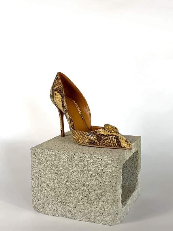 Taylor + Thomas Brigitte Heels - Golden Python