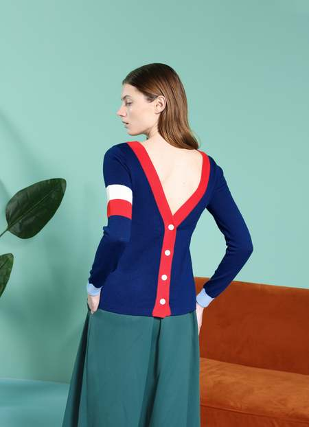 MATTER MATTERS Reversible V-Neck colour block button back wool cardigan - Navy