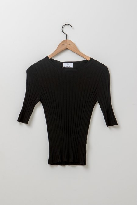 Allude Wide Ribbed T-Shirt - Black