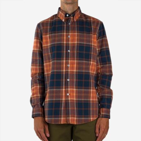 Bon Vivant Gino Brushed Oxford Plaid Shirt - Orange/Blue